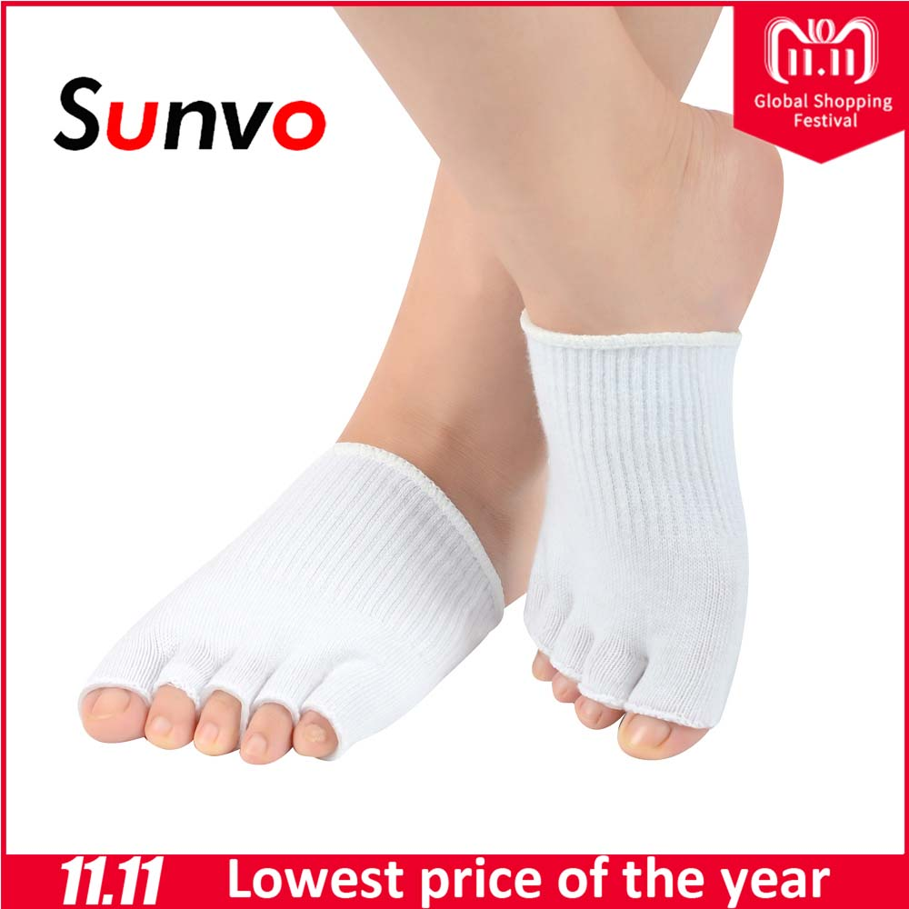Sunvo Five Toes Forefoot Sock for Women Exfoliating Spa Wear Moisturising Cracked Skin Care Protection Socks Inserts Foot Pads skin care for dry hard cracked skin moisturising spa gel silicone socks rejuvenation foot mask softex
