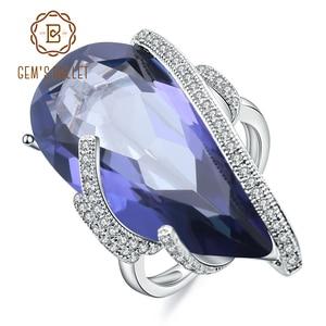 Image 1 - GEMS bale 17.8Ct doğal Iolite mavi mistik kuvars taş yüzük 925 ayar gümüş kokteyl yüzüğü kadınlar için güzel takı