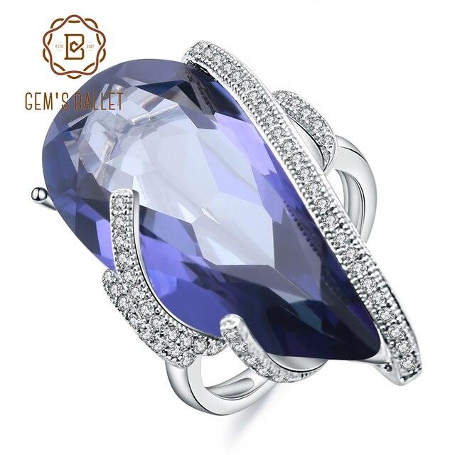 GEMS bale 17.8Ct doğal Iolite mavi mistik kuvars taş yüzük 925 ayar gümüş kokteyl yüzüğü kadınlar için güzel takı