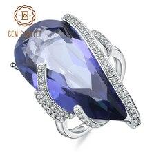Gems バレエ 17.8Ct ナチュラルアイオライトラウンドルースビーズブルーミスティッククォーツ宝石リング 925 スターリングシルバーカクテル女性ファインジュエリー