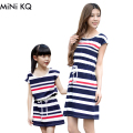 1pc Retail New 2016 Family Mother Daughter Dresses Outfits Summer Fashion Mom Girl Short Striped Matching Dress Clothes Sets