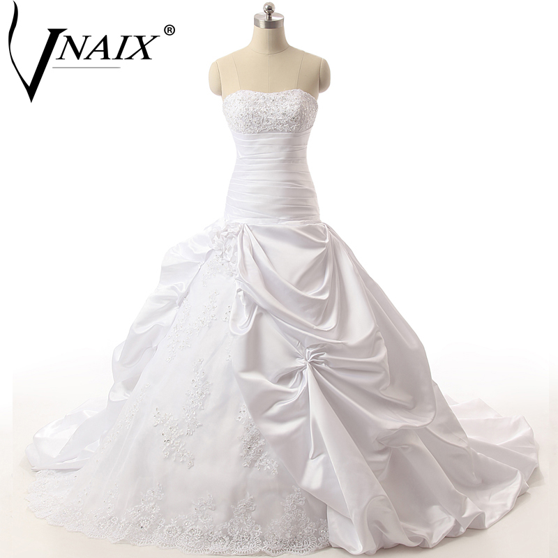 Vnaix W1274 Ball Gown Wedding Dresses Strapless Off the Shoulder with Lace Beading Pleat and Ruched Vestido De Novia gown
