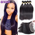 13x4 Full Lace Frontal Closure With Bundles Malaysian Straight Virgin Hair With Closure Human Hair 4 Bundle Deals With Closure