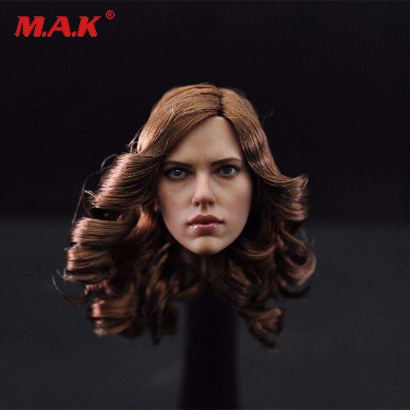 1 6 mulher viuva negra scarlett johansson feminino cabeca da menina com curlycarving marrom modelo brinquedos