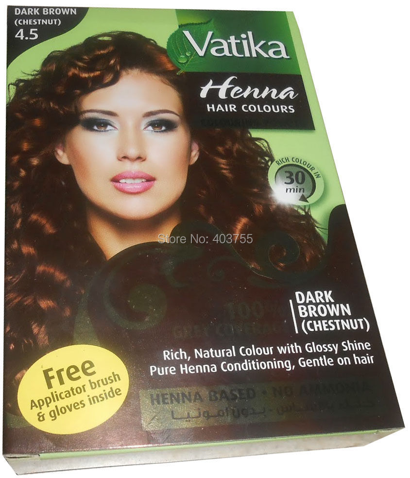 Vatika Henna Hair Coloring Hair Dye Powder Dark Brown 100% Grey ...