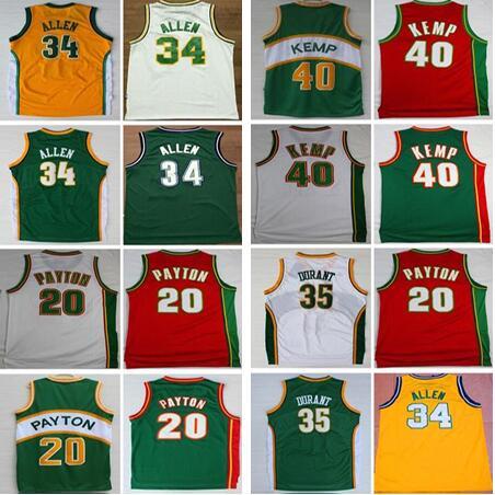 Seattle Basketball Jerseys The Glove SuperSonics 20 Gary Payton Reign Man 40 Shawn Kemp 34 Ray Allen 35 Kevin Durant Shirts все цены