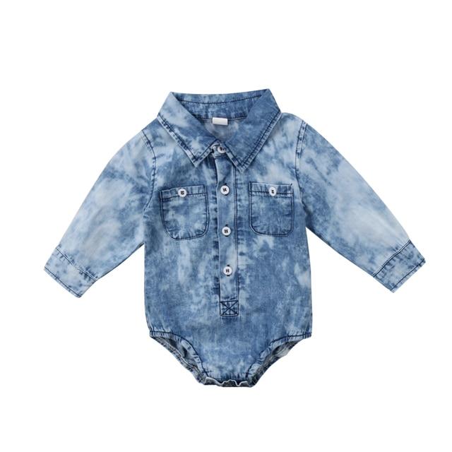 b9f8e383a589e Newborn Infant Kids Baby Boy Clothes Denim Tops Jumpsuit Bodysuit Long  Sleeve Cute Clothing Baby Boys