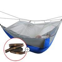 High Strength Parachute Fabric Camping Hammock Hanging Bed With Mosquito Net Sleeping Hammock Outdoor Hammock