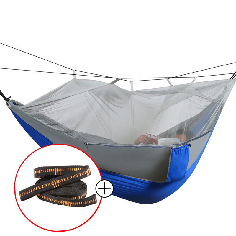 High Strength Parachute Fabric Camping Hammock Hanging Bed With Mosquito Net Sleeping Hammock outdoor hammock furniture size hanging sleeping bed parachute nylon fabric outdoor camping hammocks double person portable hammock swing bed