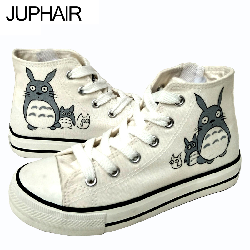 ФОТО JUP Shoe Men Males Girl Anime Comic Figure High Totoro Despicable Me Minion Handpainted Shoes Hand Canvas Shoes Espadrilles Jane