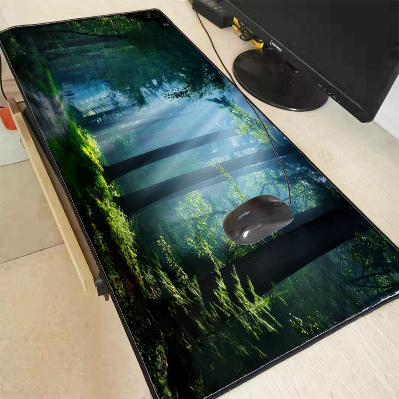 Mairuige Nature Blue Forest Snow  Large Mouse Pad  Gaming Mousepad Anti-slip Natural Rubber Gaming Mouse Mat With Locking Edge