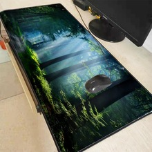 Mairuige Nature Blue Forest Snow  Large Mouse Pad Gaming Mousepad Anti-slip Natural Rubber Mat with Locking Edge