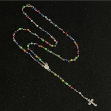 Rosary Necklace Pearl Jesus Christ Cross Pendant Necklace Long Chain Men's and Women's Virgin Mary Christian Fashion Jewelry недорого