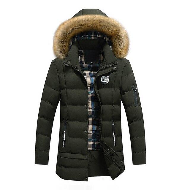 US $82.75 |2017 Uomini Giacca Invernale Con Pelliccia Con Cappuccio Army Giacca Per uomo Parka di Spessore Moda Cappotto Giacca A Vento Da Uomo