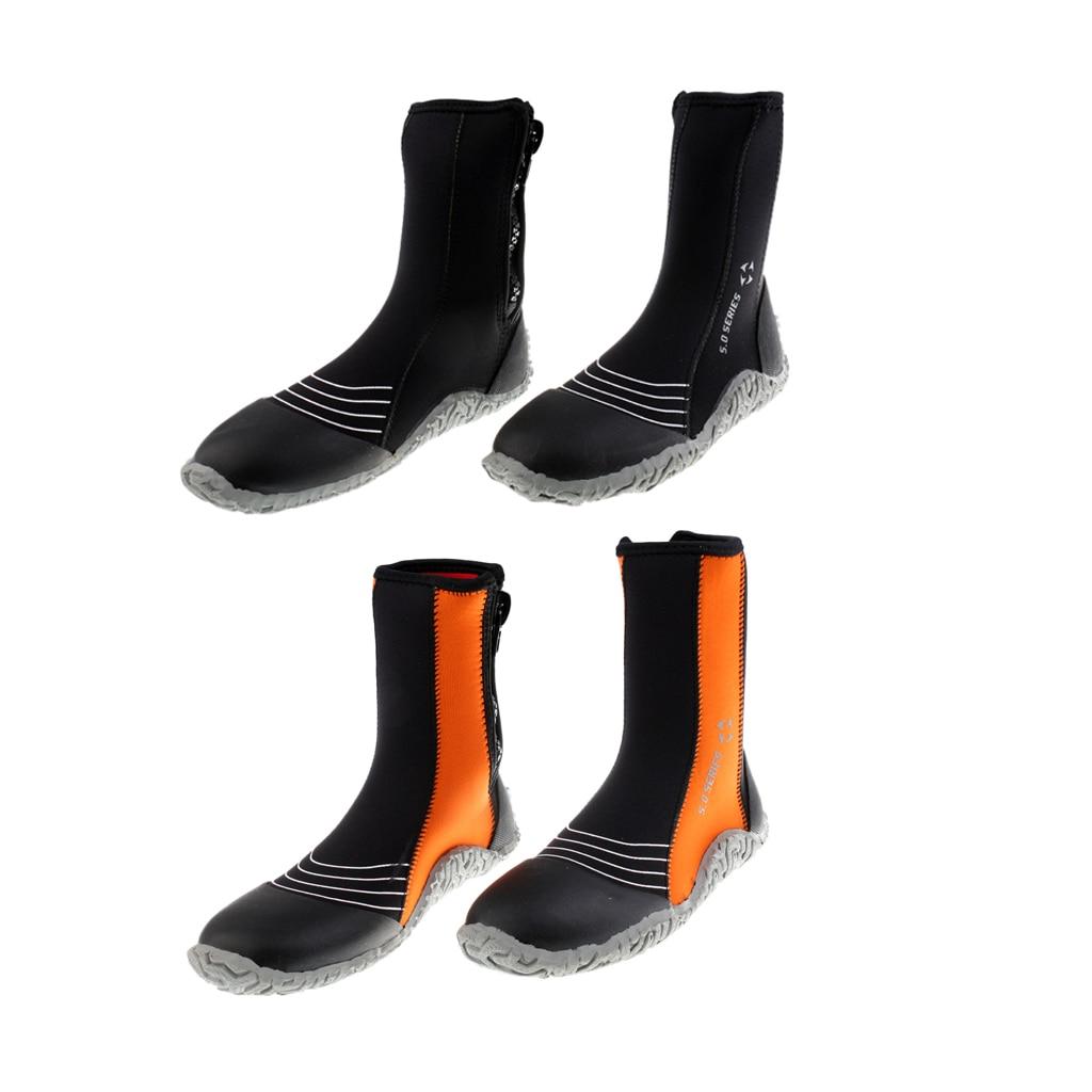 Mens 5mm Neoprene Zipper Wetsuit Boots Surfing Diving Kayak 3-8#(34-45) for Underwater S ...
