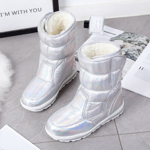 Image 3 - 2020 New Winter fashion women boots mixed natural wool female warm boots waterproof thick fur full size silver lady snow boots