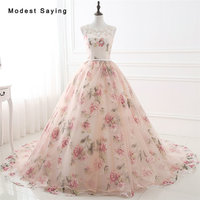 Elegant Ball Gown Floral Print Beaded Lace Flowers Evening Dresses 2017 Fashion Formal Women Party Prom Gowns vestido de festa
