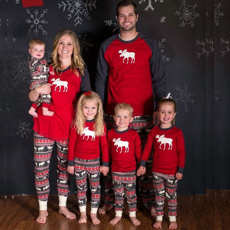 Men Women Kids Christmas Family Matching Outfit Pajamas Sets Clothes Deer Sleepwear Pyja ...