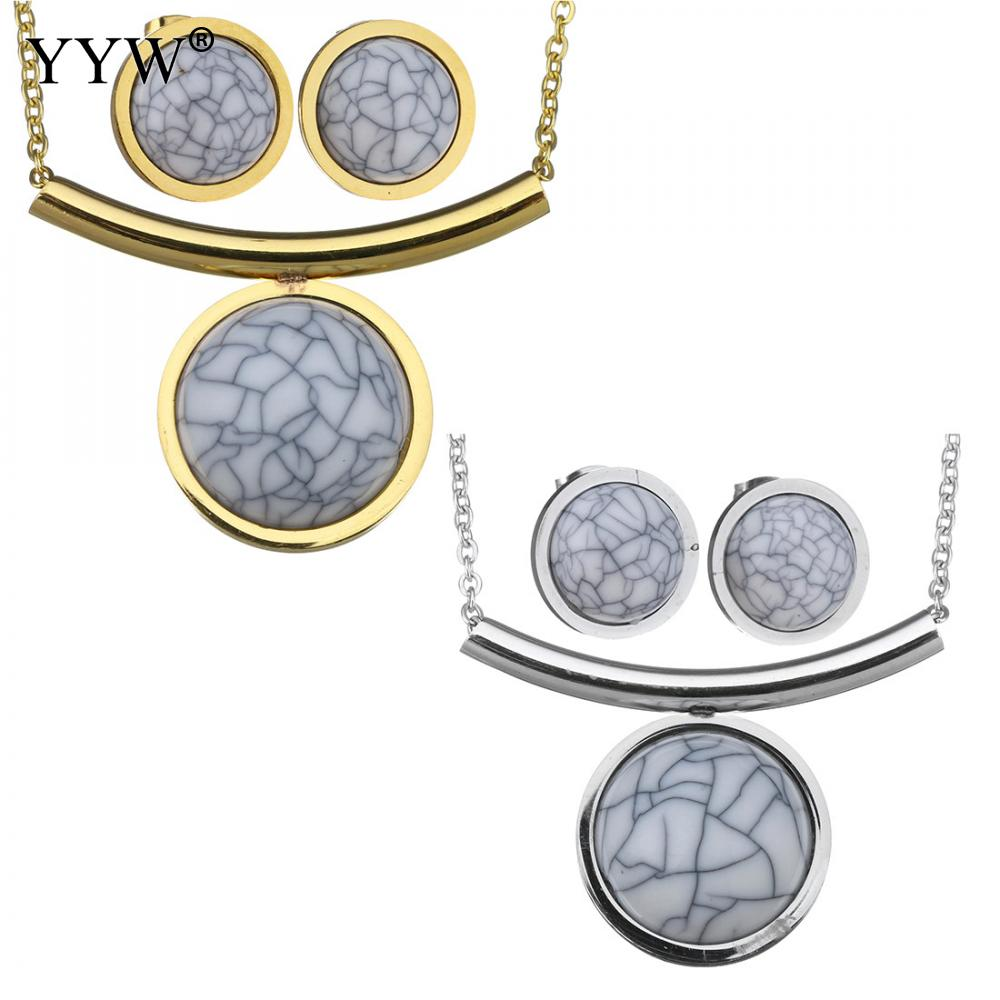 Turquoises Jewelry Sets earring & necklace Stainless Steel Natural Stone Flat Round plated oval chain & for woman Sold By Set
