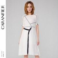 CARANFIER чистый 100% натурального шелка Женское платье с шелковой подтяжки элегантный сторона Узелок прозрачный Разделение круглым вырезом Лет