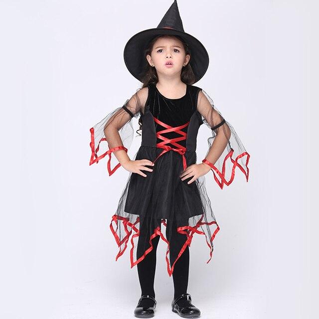 Enge Halloween Kostuums.Us 19 59 Kids Meisjes Halloween Kostuums 95 135 Cm Meisjes Halloween Enge Heks Fancy Jurk Met Rode Versieringen In Kids Meisjes Halloween Kostuums