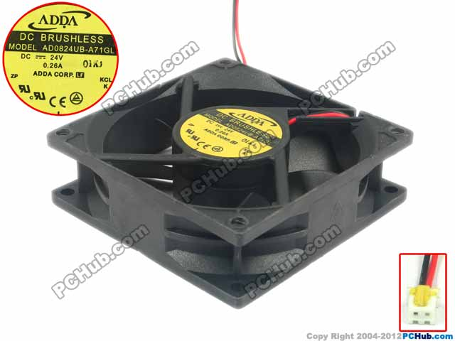 ADDA AD0824UB-A71GL Server Square Fan DC 24V 0.26A 80x80x25mm 2-wire free shipping for adda ad3505db g50 dc 5v 0 06a 2 wire 2 pin connector 70mm 35x35x10mm server square cooling fan free shipping