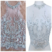 ZBROH Pure hand made sew on Rhinestones applique on mesh silver crystals patches 39*29cm dress accessory
