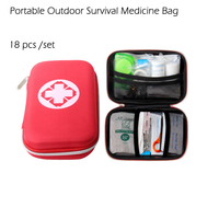 18 Pcs Set Survival Medical Bag Emergency First Aid Kit Travel Outdoor Household Supplies Automotive Portable