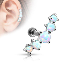 1PC Surgical Stainless Steel Opal Ball Tragus Cartilage Barbell Stud Earring For Women Men Ear Piercing Jewelry Gifts
