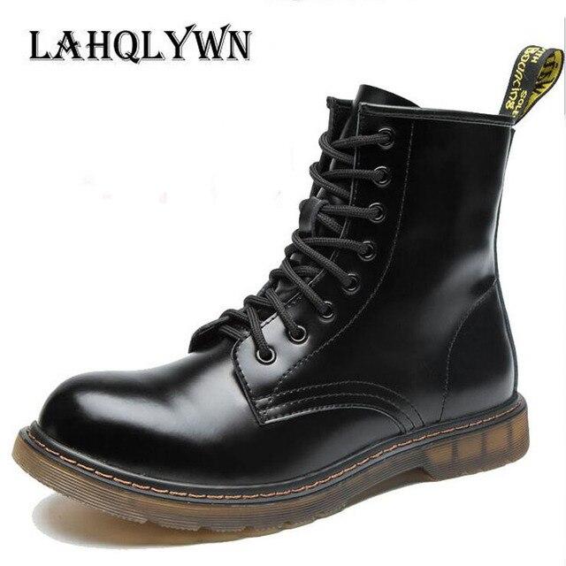Модные ботильоны осенние мужские мотоциклетные ботинки «мартинс» мужчин Обувь шнурованная для женщин мужчин Обувь Большие размеры 35-46 H45
