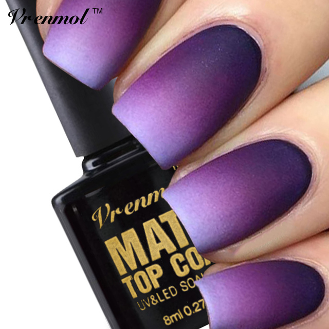 Vrenmol 1 pz Pulizia Matt Top Coat Nail Gel Polish Long Lasting Matte Top coat UV LED Unghie Gel Lacquer Matt Top Gel