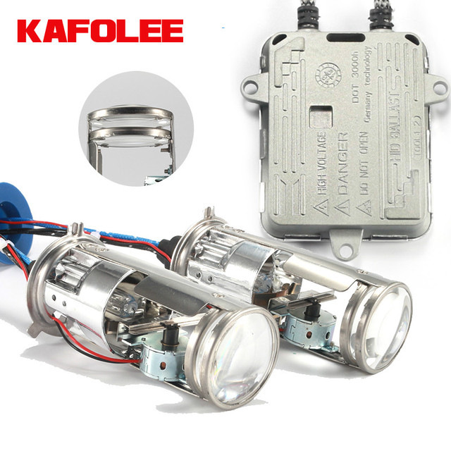 KAFOLEE bombillas de faro delantero de coche, miniproyector de doble lente de Xenón hid, h4, 12V, 4300K, 6000k, 8000k, 55W