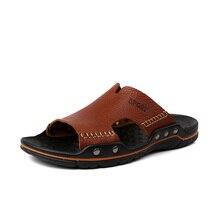 Genuine Leather Men Sandals Luxury Breathable Men Slippers 2016 Summer Flat Heel Casual Men Beach Flip Flops Manual Sewing New