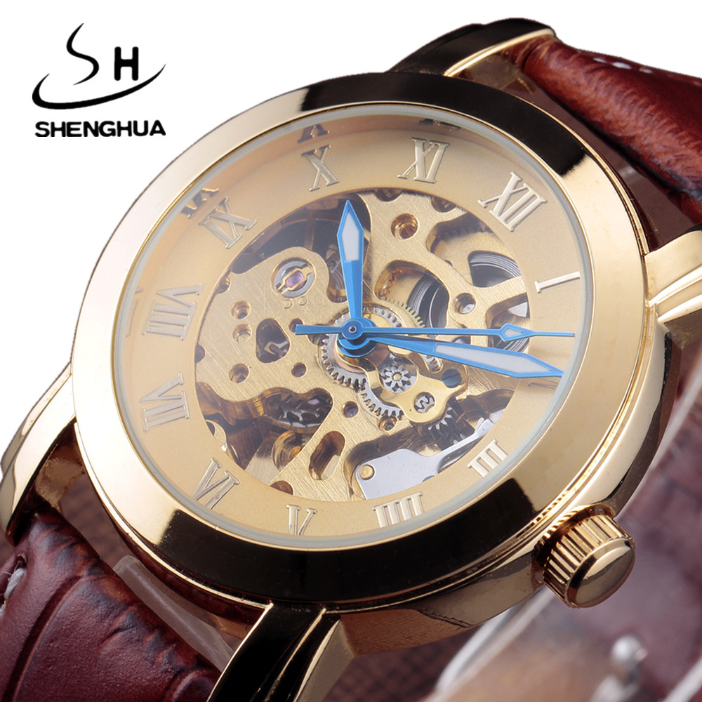 Fashion Shenhua Leather Strap Roman Gold Skeleton Watches Men Military Business Clock Mechanical Wrist Dress Sport Luxury Watch winner automatic mechanical watches men s gold luxury steel wrist watch men 2018 military sport skeleton military army clock