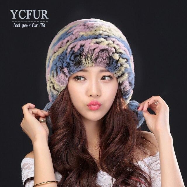 YCFUR Mujeres Sombreros de Invierno 3 Colores de Punto Real de Piel de Conejo Rex tapas de Bolas De Pelo Suave de Piel Cálido Invierno Gorros Sombreros Para Damas