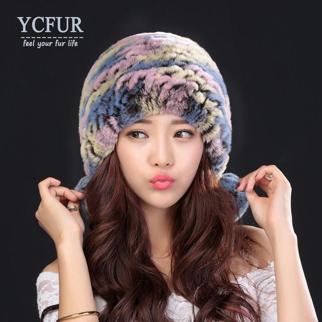 YCFUR Women Hats Winter 3 Colors Knitted Real Rex Rabbit Fur Caps Fur Balls Soft Warm Winter Fur Beanies Hats For Ladies
