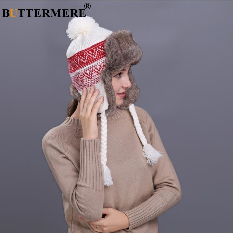 BUTTERMERE Russian Ushanka Hats Womens Knitting Fur Bomber Hat Women'S Beanies Pom Pom 2019 Warm Autumn Winter Warm Trapper Hat