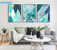 Modern Minimalistic Geometric Blue Modular Pictures Print Poster Decor Canvas Painting Wall Picture Art Home