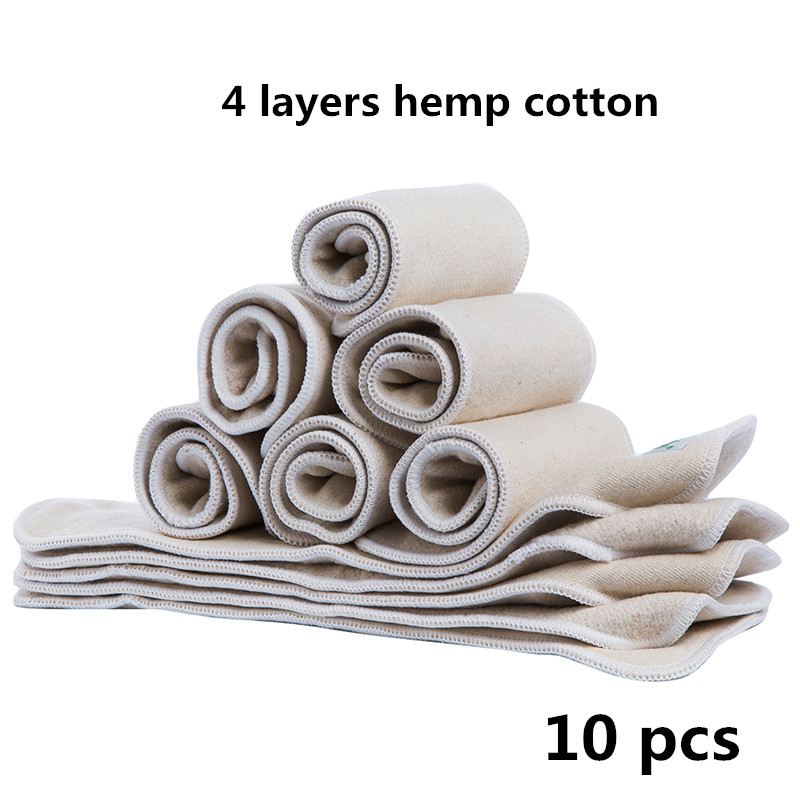 10 Pcs Baby Cloth Diaper Inserts Reusable Washable Hemp Cotton Bamboo Fiber Nappy Liners For Baby Diapers Cover Dropshipping