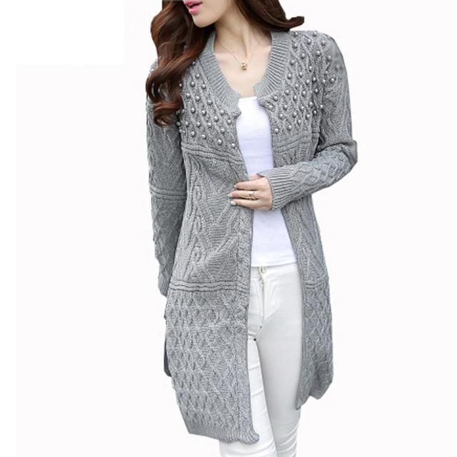 2016 nova Outono Inverno malha cardigan camisolas Moda feminina shrug sweater Outono inverno quente longo de grandes dimensões camisola jumpers