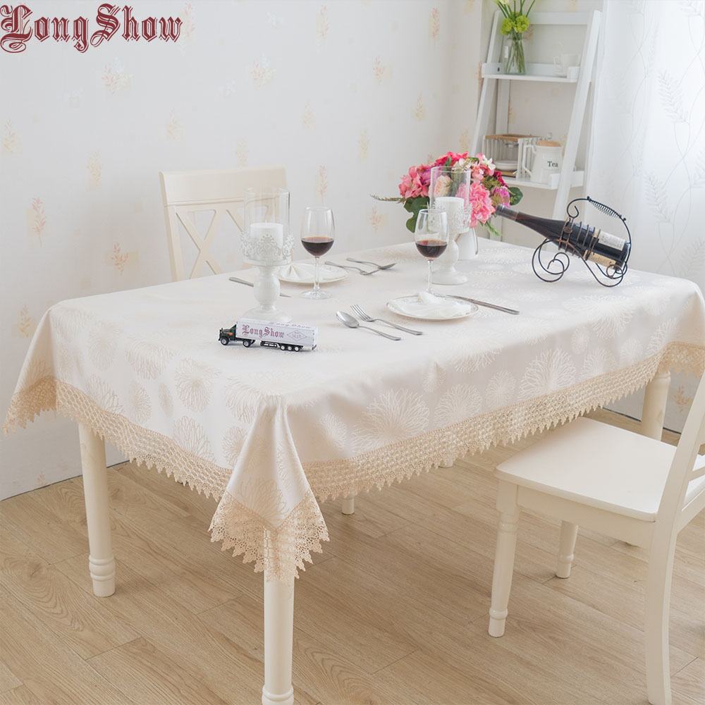 Beige Colour 130x180cm 100% Polyester Dyed Yarn Cloth Embroidered Lace Trim Table Cover