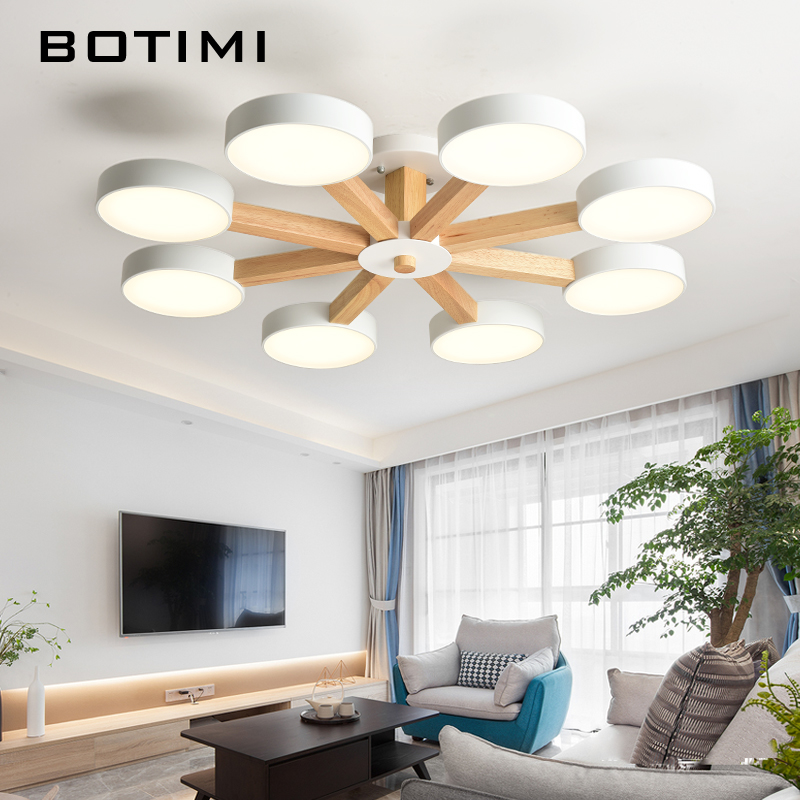 BOTIMI 220V 110V Ceiling Chandelier For Living Room Modern White Round Lustre Wooden Bedroom Lights Surface Mounted Indoor Lamps