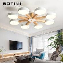 BOTIMI 220 V LED Lustre pour salon moderne blanc Lustre en bois chambre éclairage Simple Surface monté lustres
