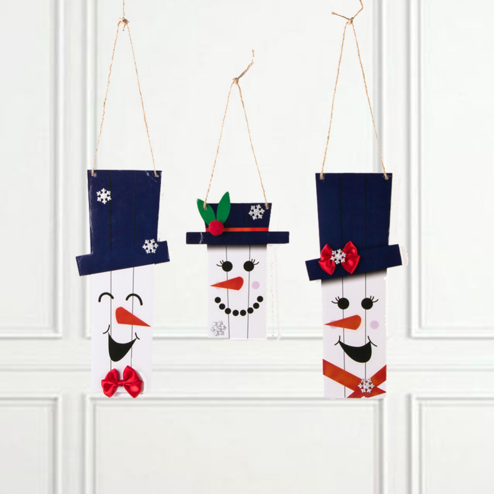 3pcs Rustic Christmas Snowman Door Hanger Foam Sca...