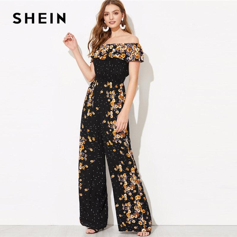 SHEIN Black Flounce Foldover Wide Leg Floral Bardot   Jumpsuit   Spring Women Solid Off the Shoulder Glamorous Maxi   Jumpsuits