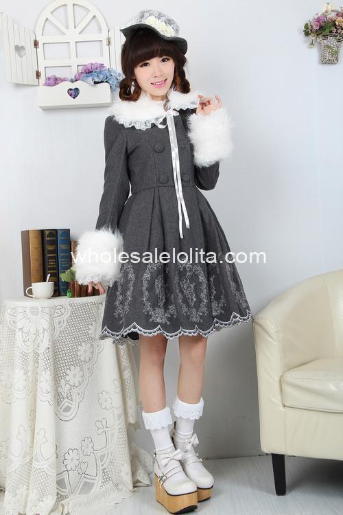 Manteau De Doux Xlcoat 5xl 4xl Lolita Laine Gothique Broderie Alice Lapin Manches 6 Longues Ypq8RYI