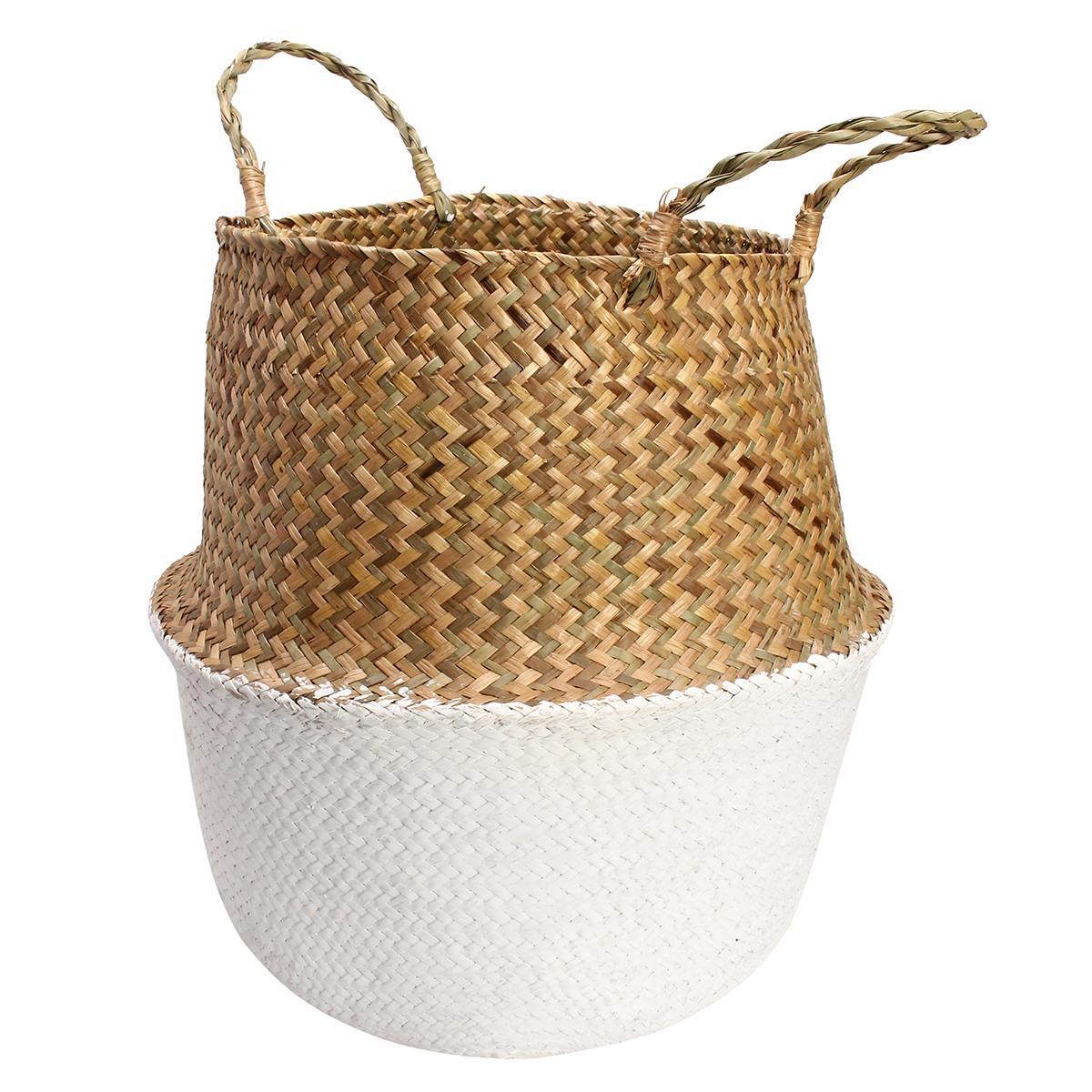 6be41556e7b3 Seagrass Belly Storage Basket Straw Basket Write Wicker basket Storage bag  White Garden Flower Pot Planter Handmade-in Storage Baskets from Home    Garden on ...