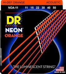 DR K3 Hi-def Neon Orange Luminescent Acoustic Guitar Strings, Custom Light 11-50 or Light 12-54 savarez 510 cantiga series alliance cantiga normal high tension classical guitar strings full set 510arj