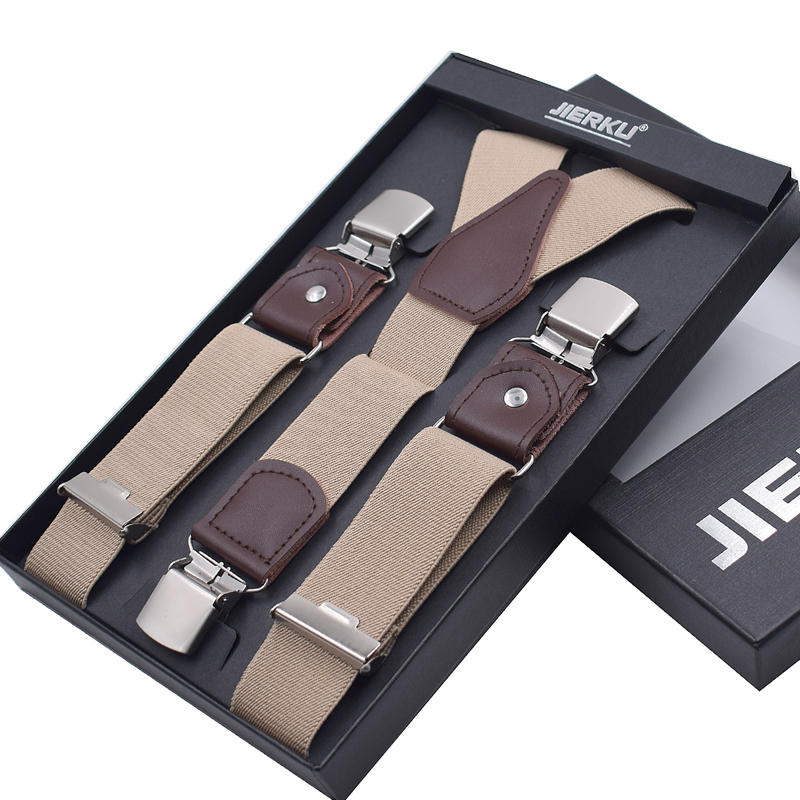 JIERKU Genuine Leather Suspenders Man's Braces 3Clips Suspensorio Fashion Trousers Strap Father/Husband's Gift 2019 New JK3C077
