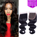 Malaysian virgin hair body wave lace closure Free Middle 3 Part 4x4inch size malaysian body wave lace closure natural black 1b